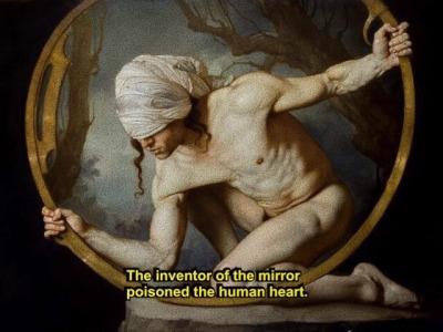 FERNANDO PESSOA x ROBERTO FERRI The book of disquiet (1982); Narcissus (2017), oil on canvas- Título y verso final: Eva Rodríguez